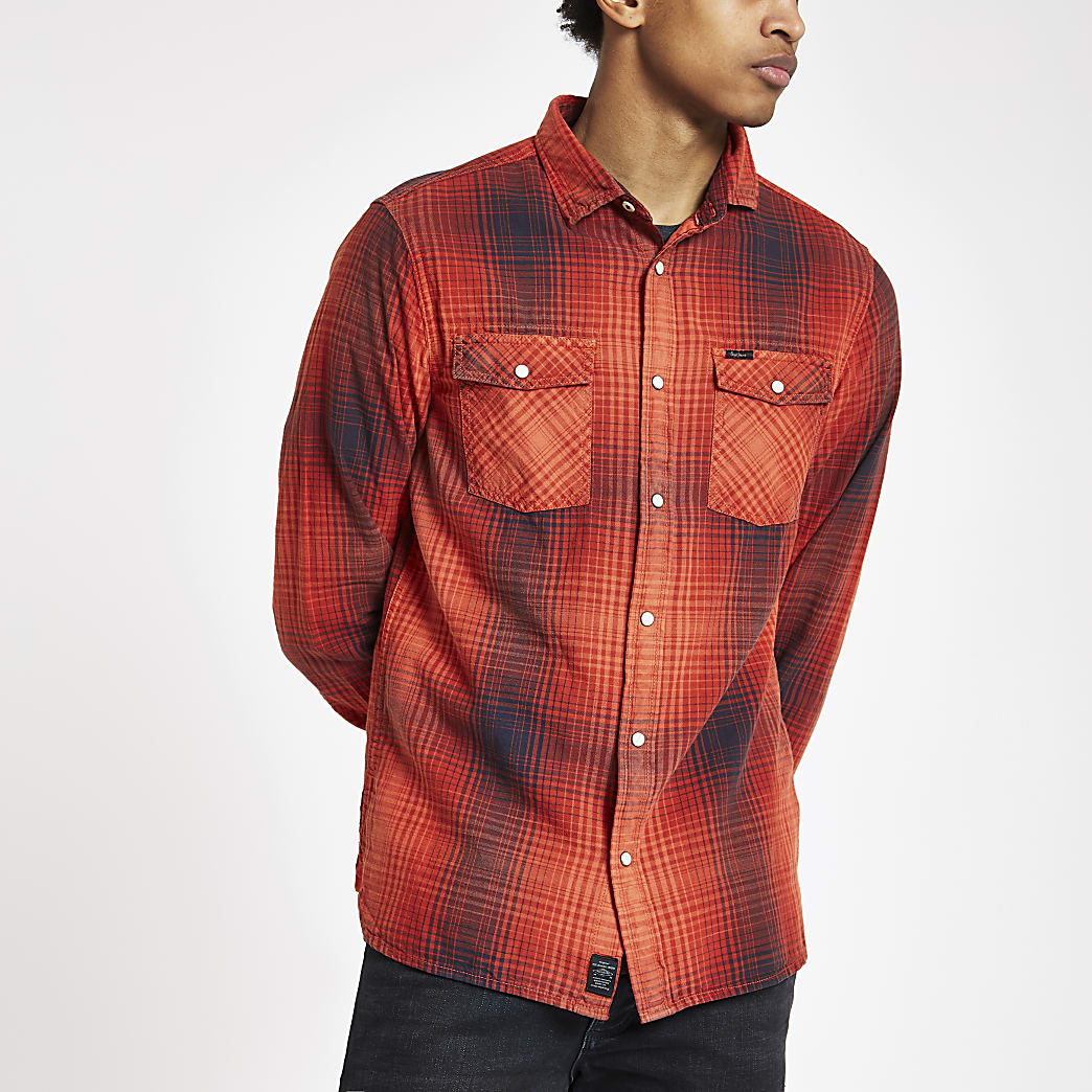 Pepe Jeans – Chemise à carreaux rouge boutonnée
