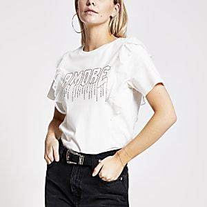 RI Petite- Beige T-shirt met 'Amour'-print in siersteentjes en ruches