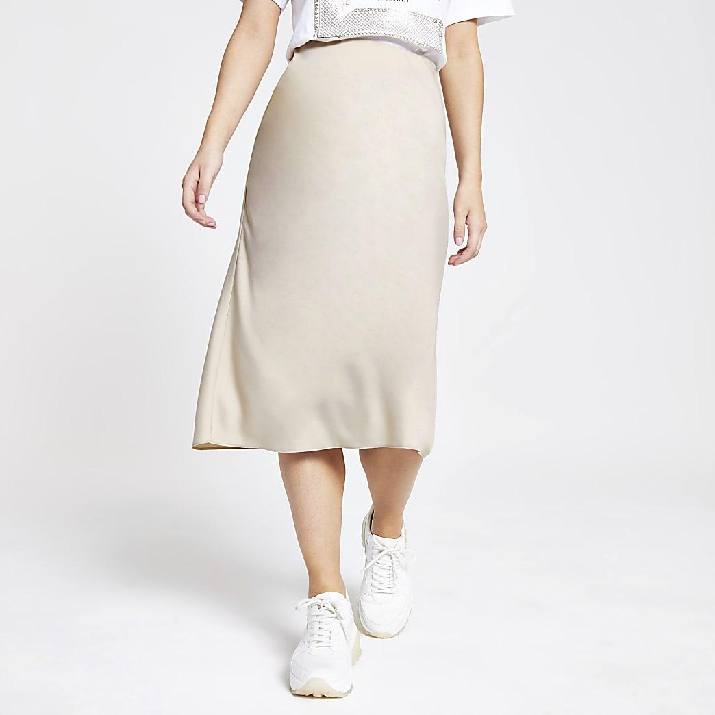 Petite beige bias cut midi skirt