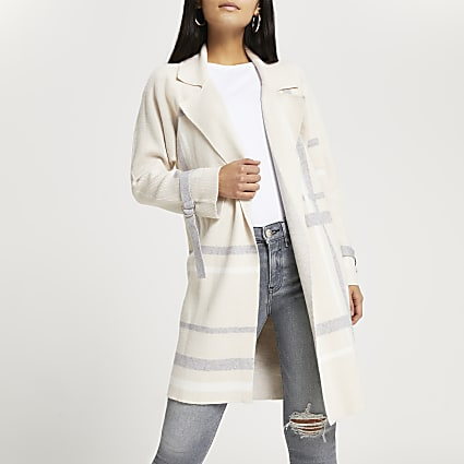 Petite beige check duster jacket