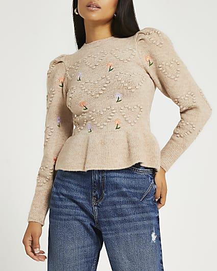 Petite beige embroidered peplum jumper