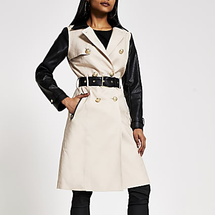 Petite beige faux leather blocked trench coat