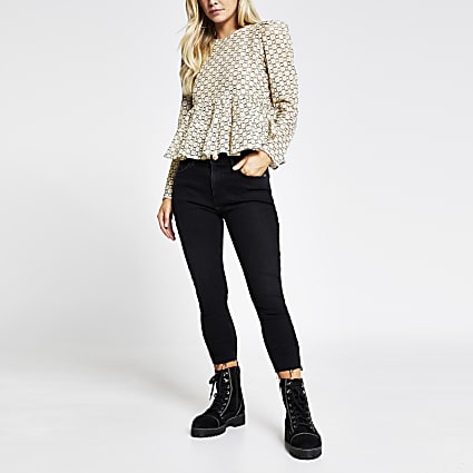 Petite beige lace long sleeve top