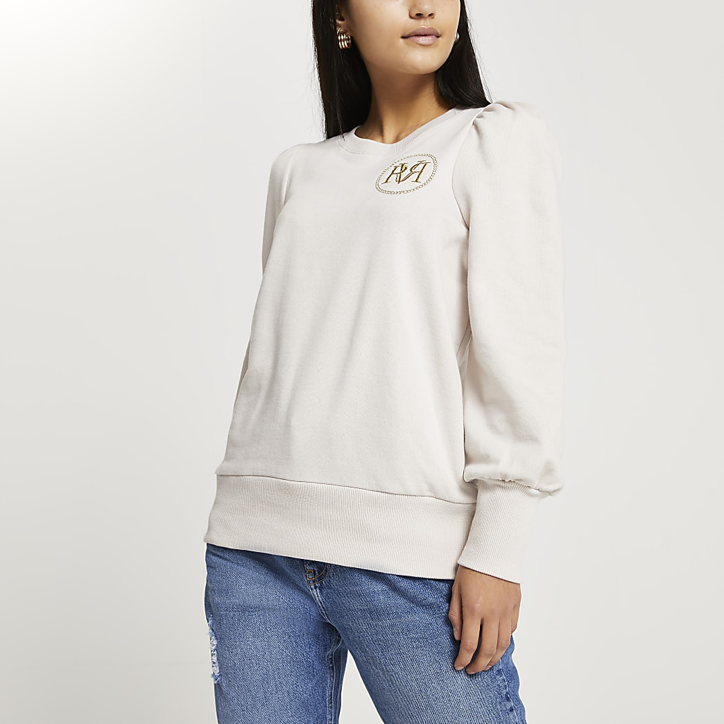 Petite beige long sleeve RVR sweatshirt