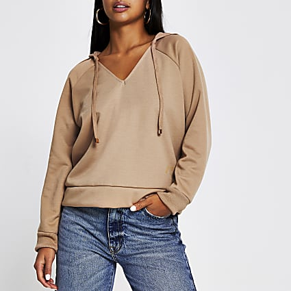 Petite beige long sleeve tie neck hoody