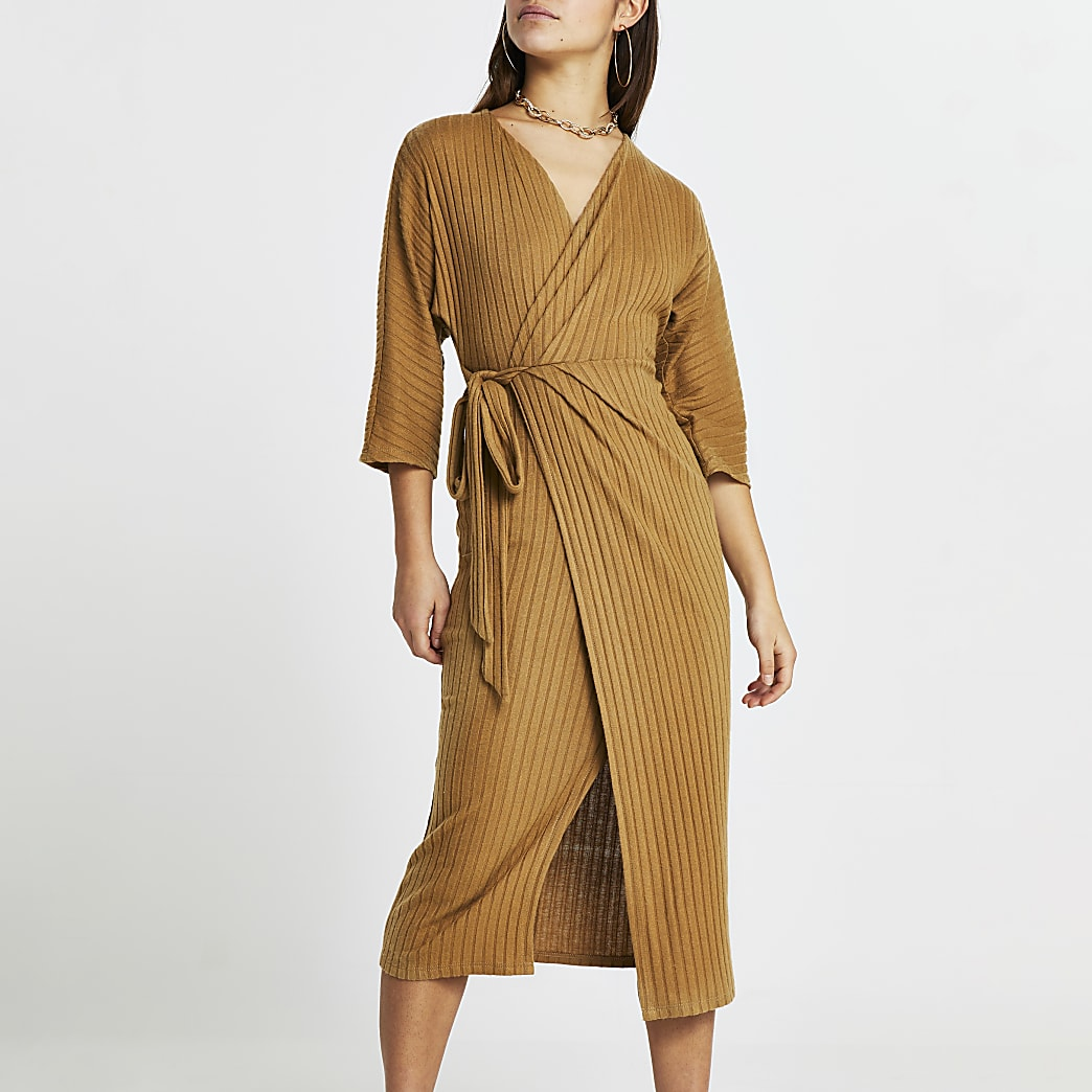Petite beige long sleeve wrap batwing dress