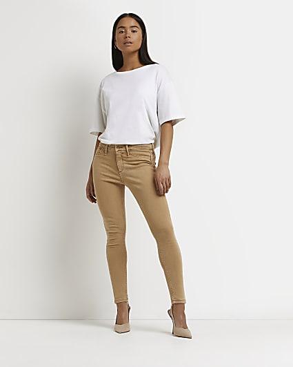 Petite beige Molly bum sculpt skinny jeans