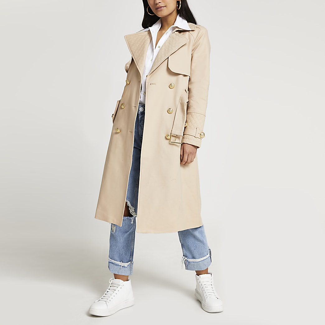 Petite beige quilted trench coat