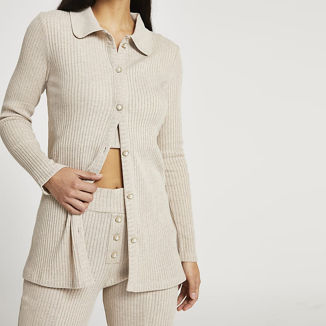 Petite beige ribbed button front cardigan