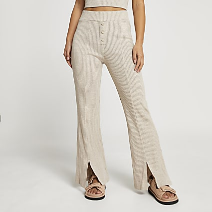 Petite beige ribbed wide leg trousers