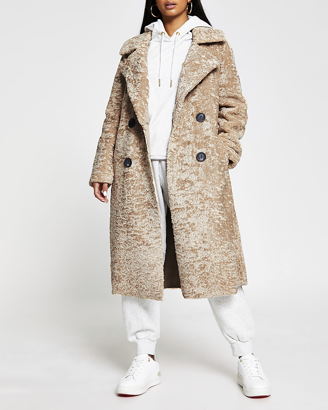Petite beige shearling belted long line coat
