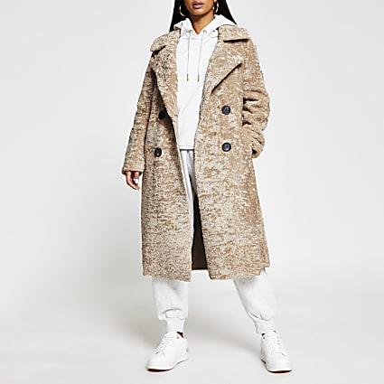 Petite beige shearling bonded long line coat