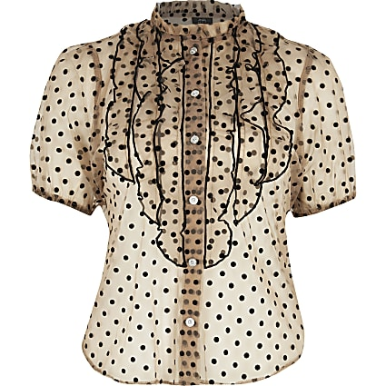 Petite beige sheer polka dot ruffle blouse