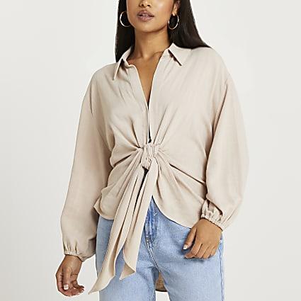 Petite beige tie front shirt