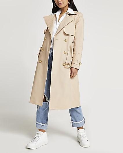 Petite beige trench coat