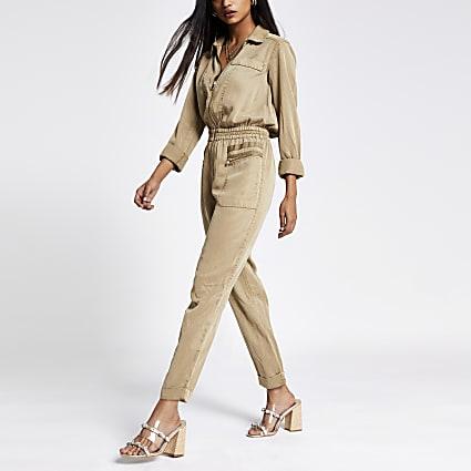 Petite beige utility jumpsuit