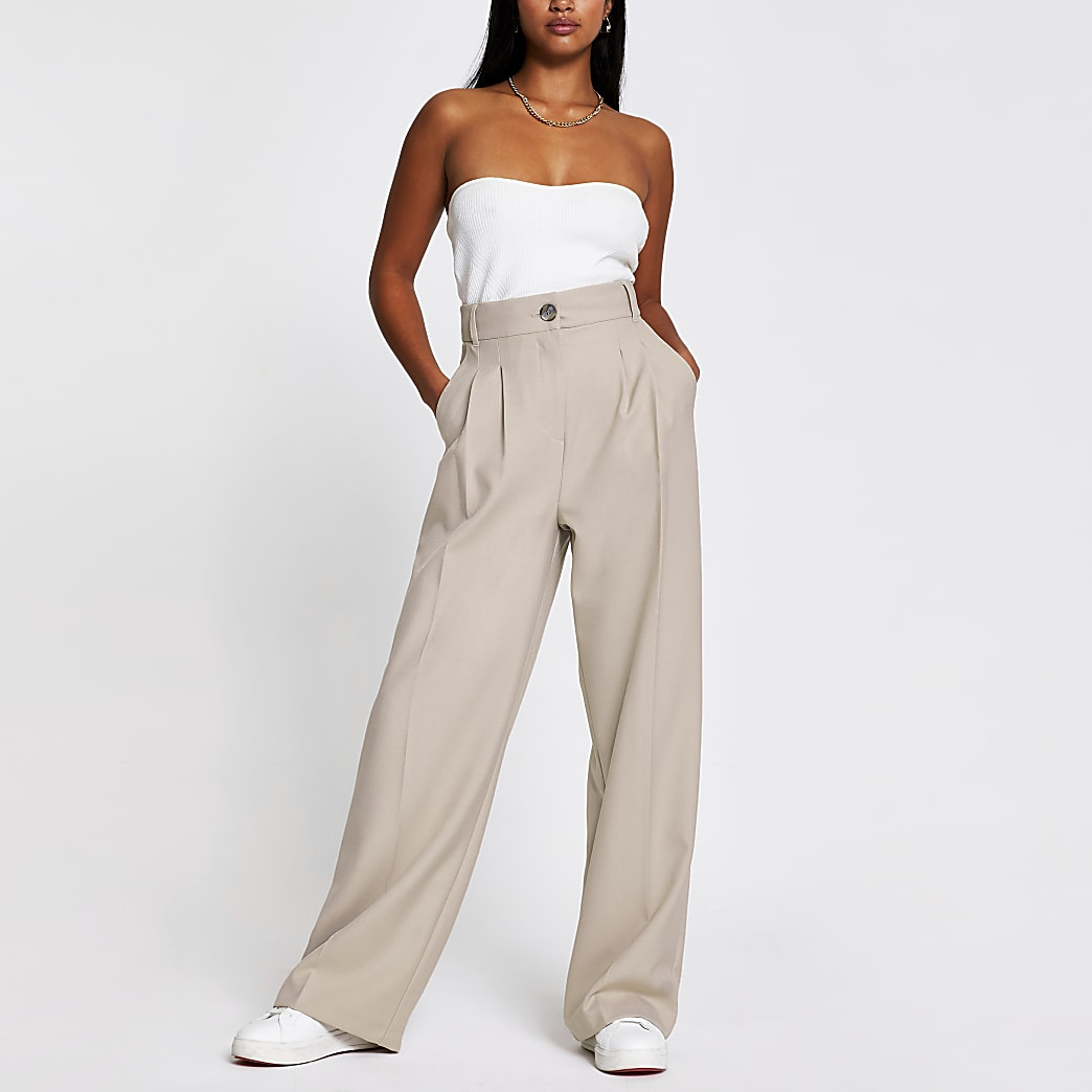 Petite beige wide leg pleat front trousers