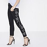 Petite black Alannah floral stud skinny jeans