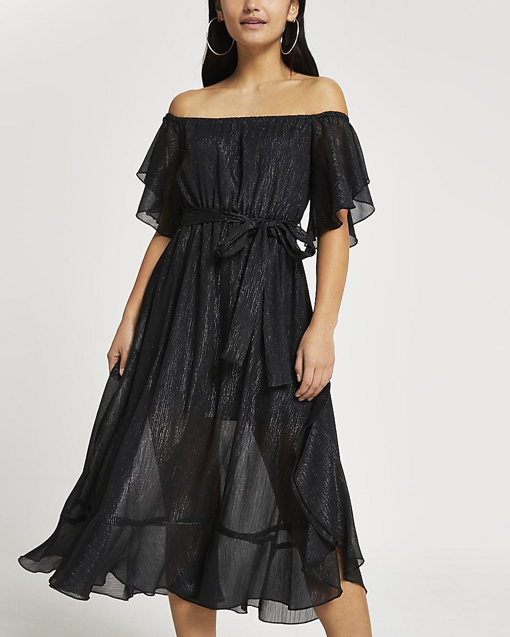 Petite black bardot maxi dress