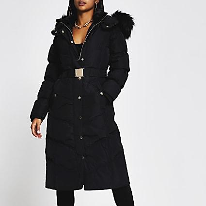 Petite black belted faux fur puffer coat