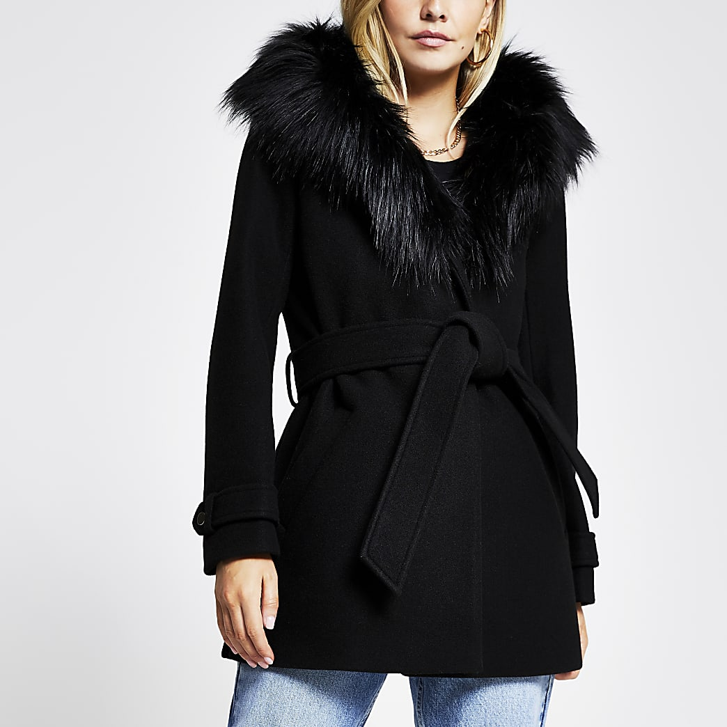 Petite Black belted faux fur robe coat