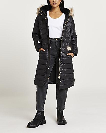 Petite black belted longline puffer coat