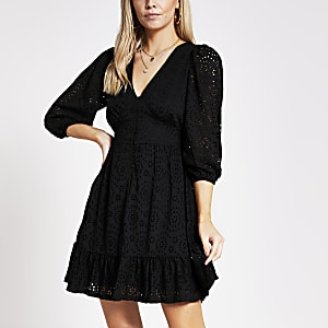 Petite black broderie mini smock dress