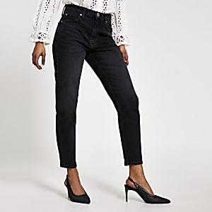 Petite – Brooke – Hoch geschnittene Slim Fit Jeans in Schwarz