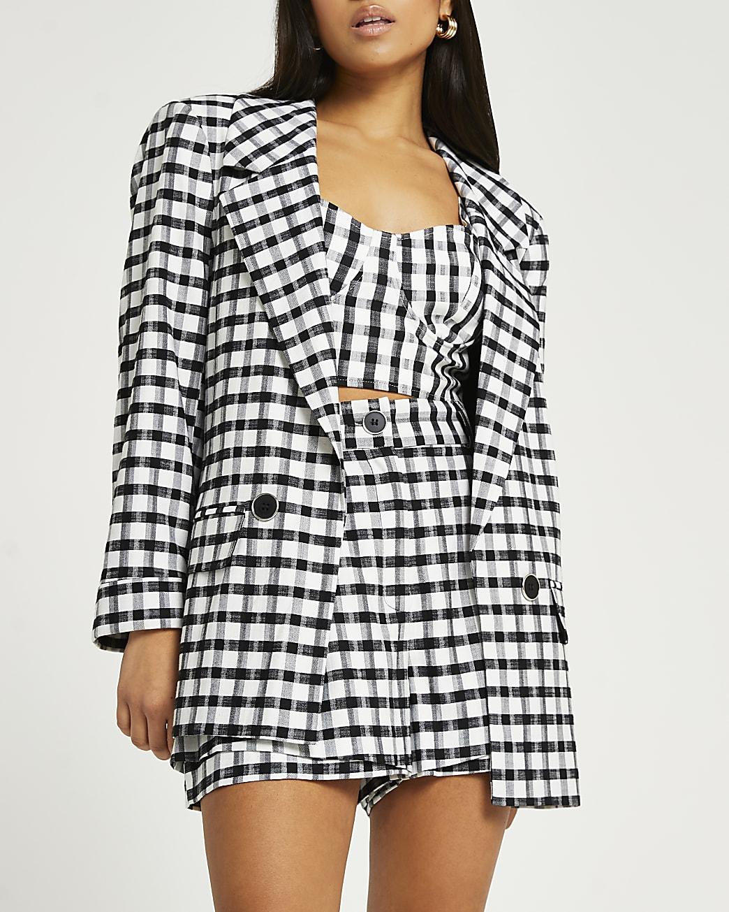 Petite black check print blazer