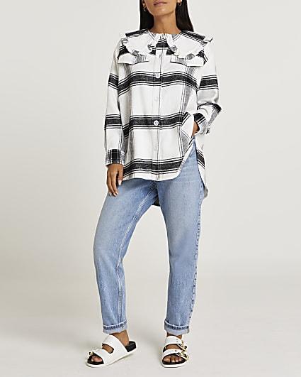 Petite black check print collared shirt