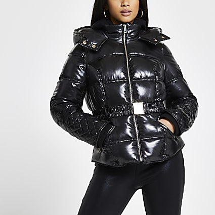 Petite Black Clean Fitted Padded Jacket