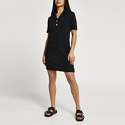 Petite black collar neck button mini dress