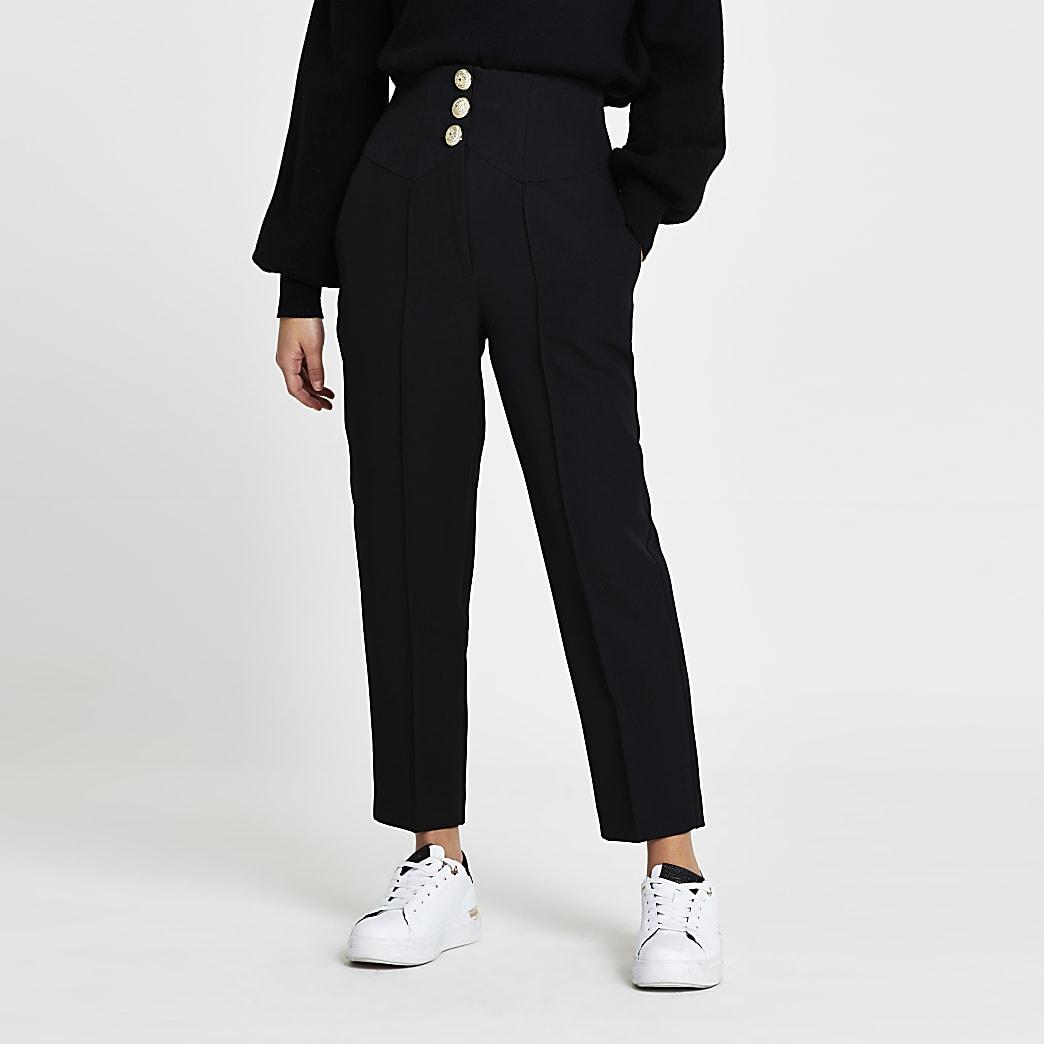 Petite black corset waist cigarette trousers
