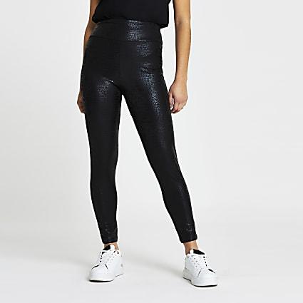 Petite black croc coated leggings
