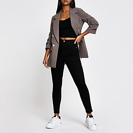 Petite black denim high rise skinny jeans