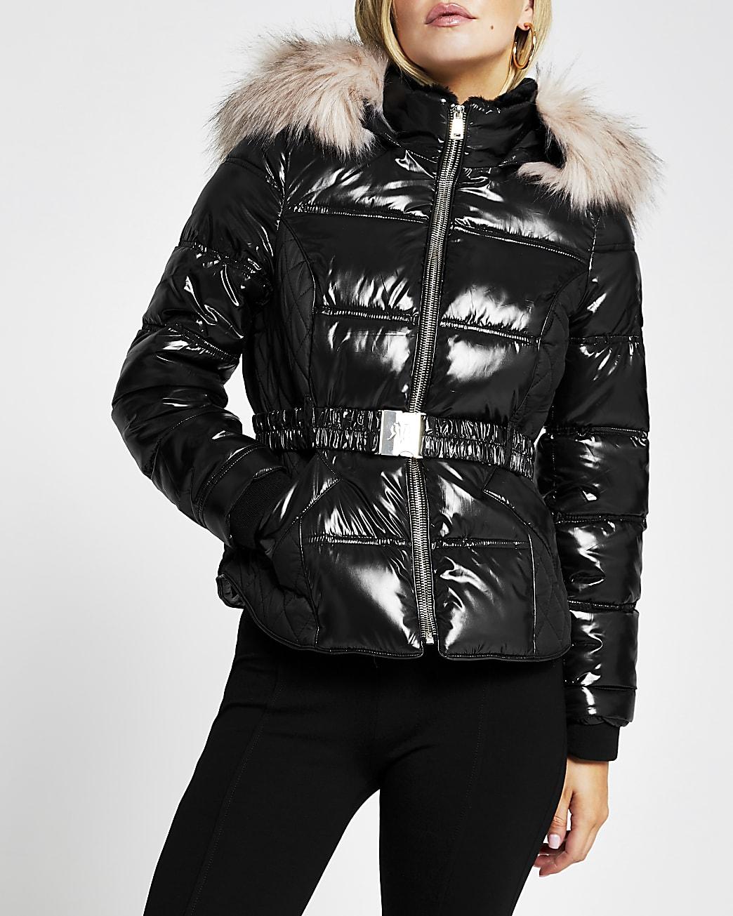 Petite black double zip padded belted jacket