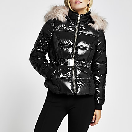 Petite black double zip padded belted jacket