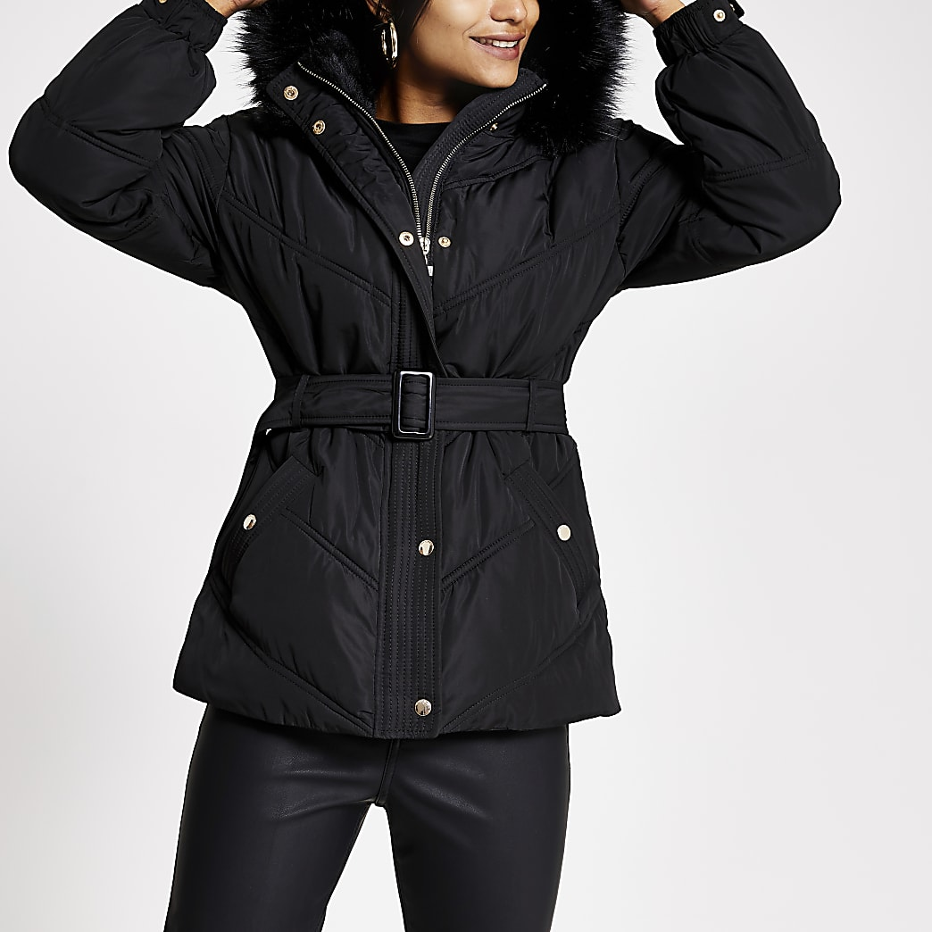 Petite black faux fur hood belt puffer jacket