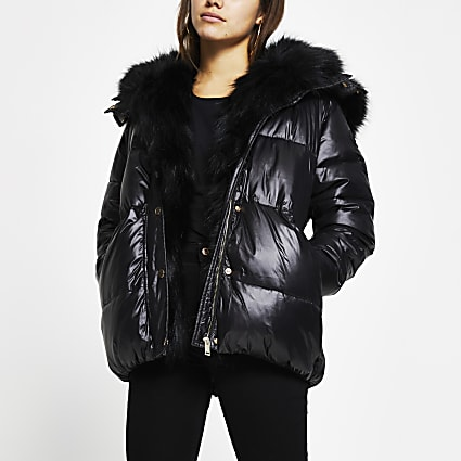 Petite black faux fur hooded puffer coat