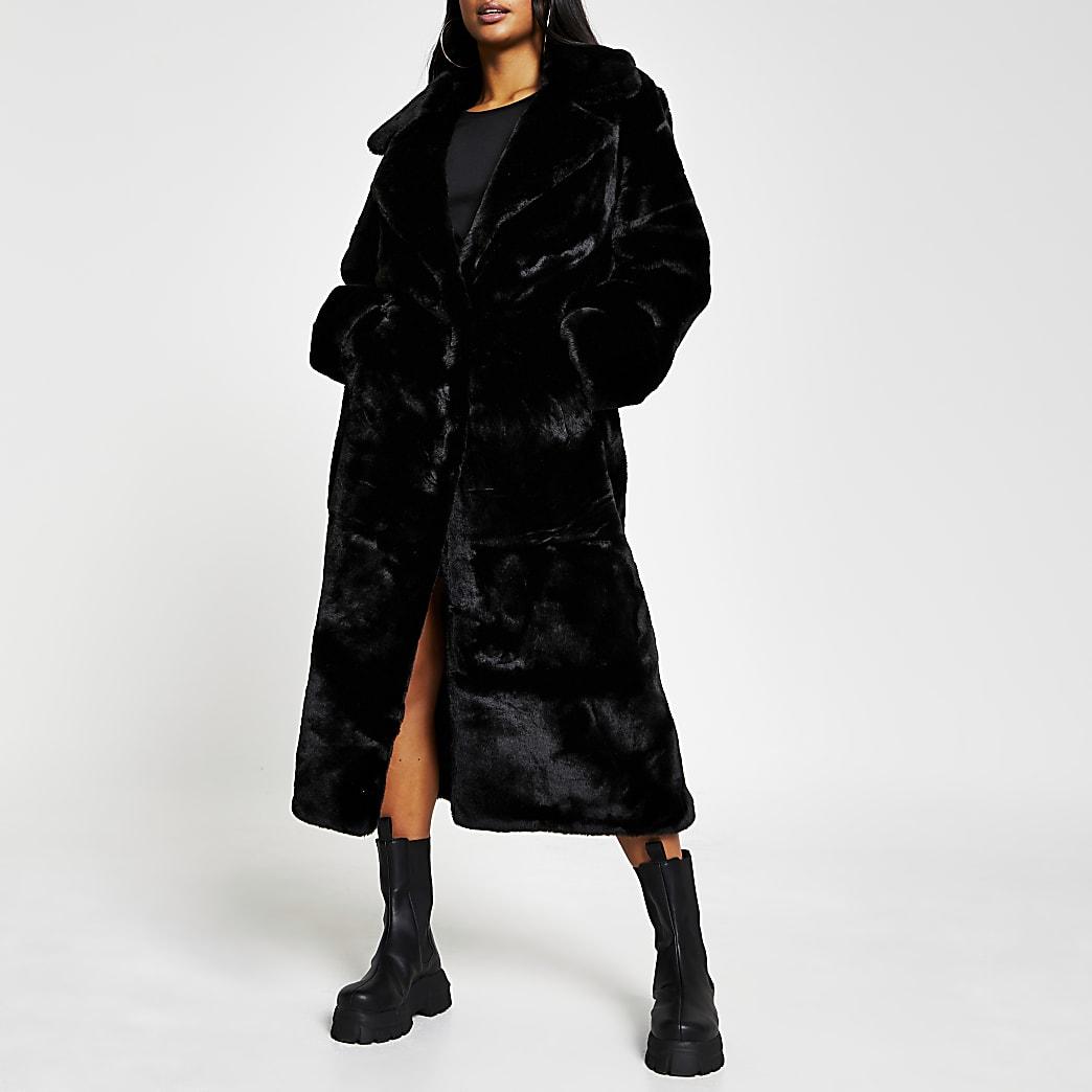 Petite black faux fur long line coat