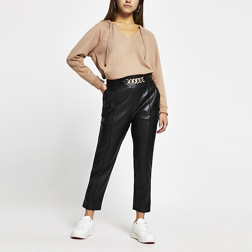 Petite Black faux leather cigarette trousers