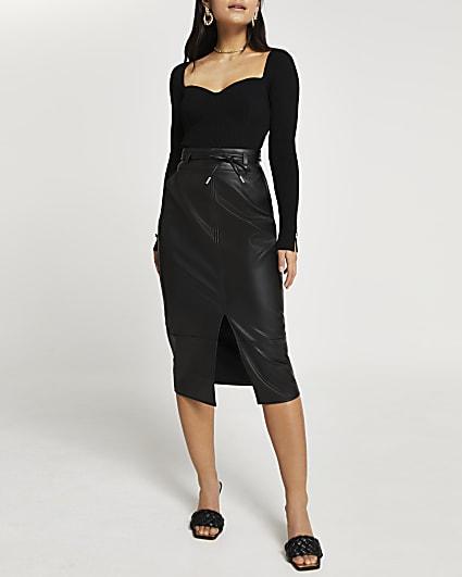 Petite black faux leather midi skirt