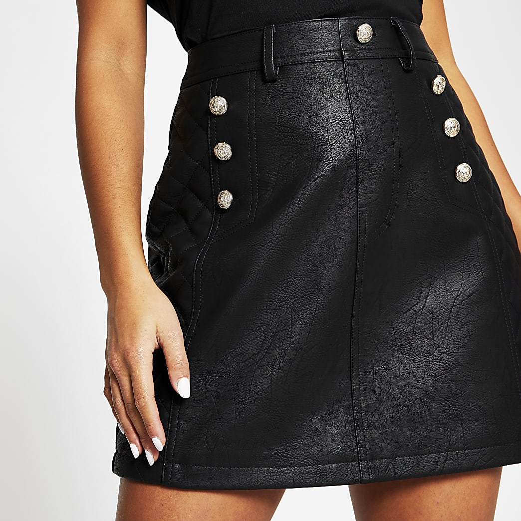 Petite black faux leather mini skirt