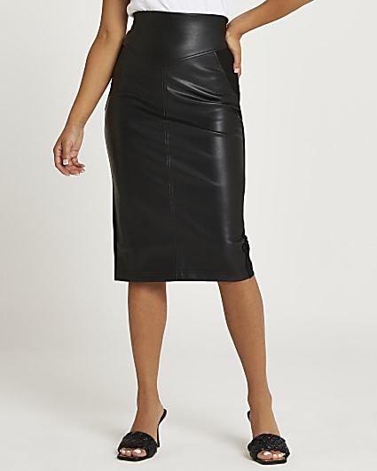 Petite black faux leather pencil skirt