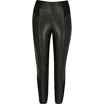 Petite black faux leather ponte leggings