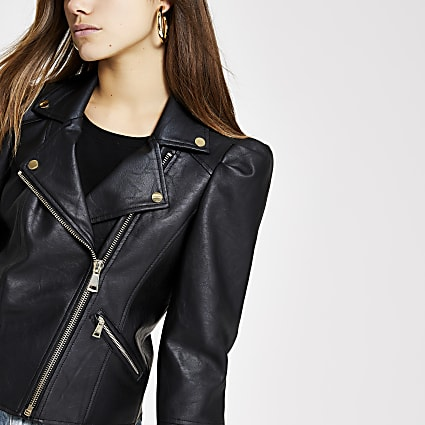 Petite black faux leather puff sleeve jacket