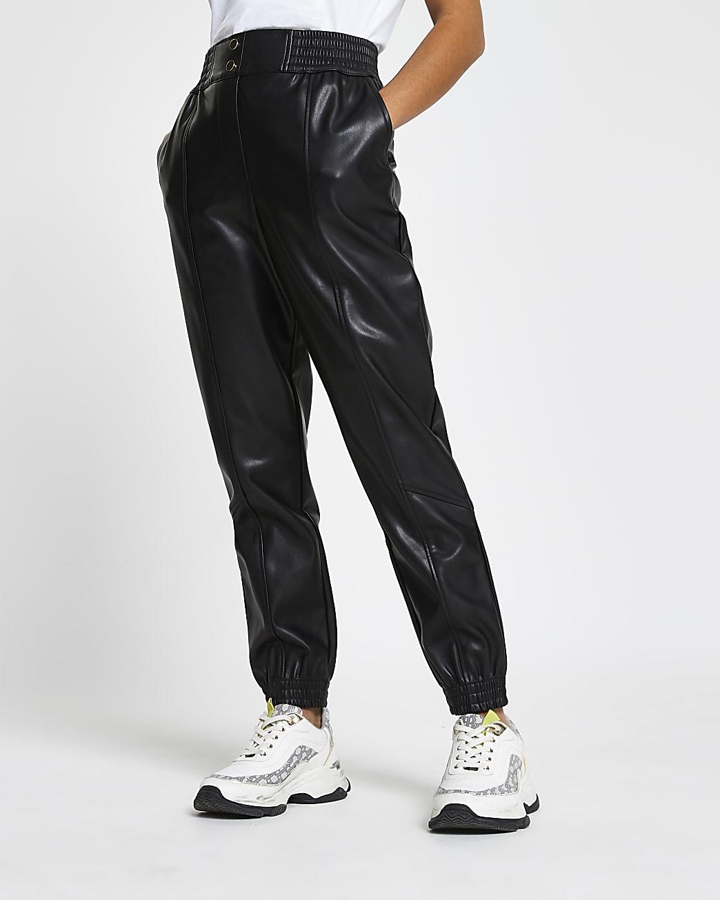 Petite black faux leather slim leg joggers