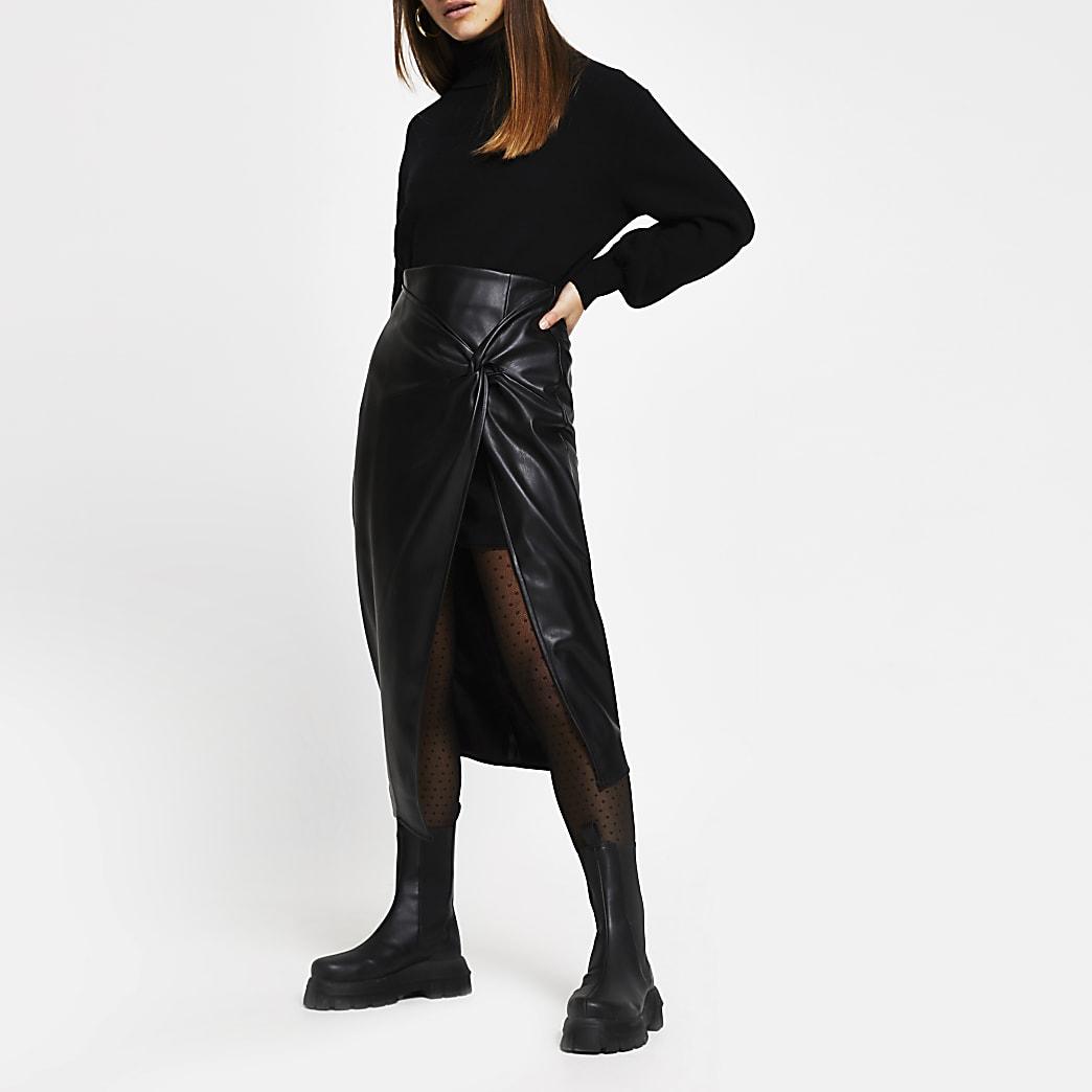 Petite Black Faux Leather Wrap Midi Skirt