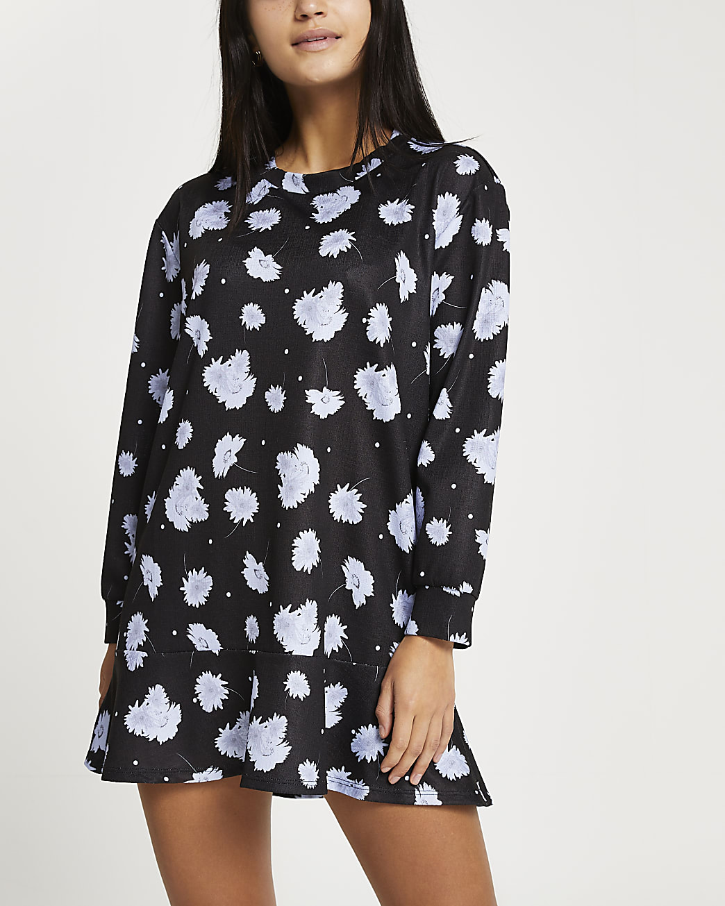 Petite black floral frill hem mini dress