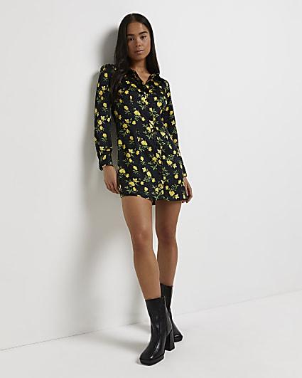 Petite black floral shirt dress